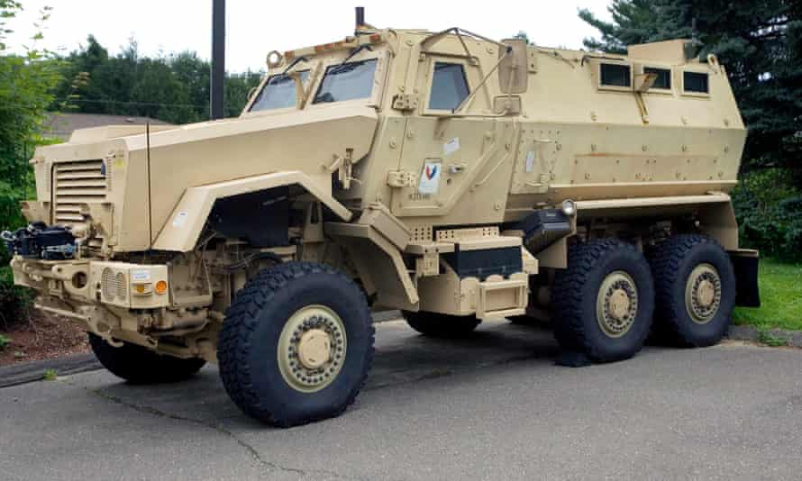 An MRAP vehicle of the type acquired by US school districts under a Pentagon giveaway of military equipment and weaponry.