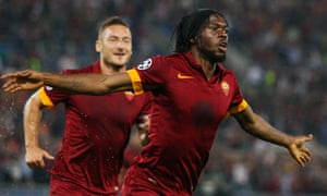 Gervinho celebrates after scoring Roma's second goal in the 5-1 thrashing of CSKA Moscow.