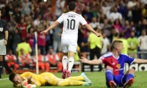 James Rodríguez celebrates after scoring Real Madrid's fourth goal against Basel.