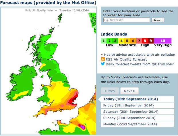 UK air pollution forecast for 18 September 2014