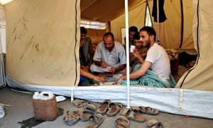 Supporters of Shii'te Houthis in tent near Sana'a during a sit-in near the Interior Ministry