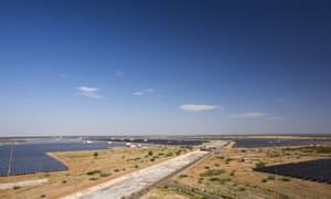 Asia's largest solar power station, the Gujarat Solar Park, in Gujarat, India. It has an installed capacity of 1000 MW