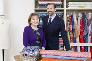 Patrick Grant wearing a tie with his fellow judge, May Martin, in BBC Two's The Great British Sewing Bee