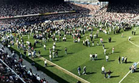Hillsborough football ground on the day of the disaster