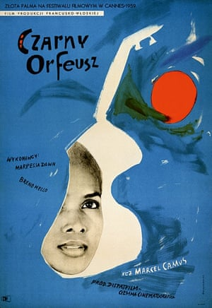 Black Orpheus (1959) Polish Made in Brazil by French director Marcel Camus, this film helped introduce the world to bossa nova and the role of music in the film is highlighted in this Polish poster.