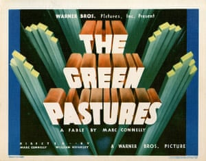 The Green Pastures (1936) Swedish / American This was an all black cast musical that told the story of The Bible. The Swedish poster is a graphic illustration of a man and a woman in the Garden of Eden' says Kisch 'contrast that with the American poster (below) which was neutered.'