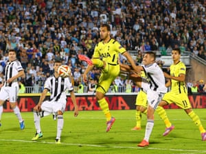 Substitute Roberto Soldado shoots wide from an acrobatic attempt on goal.