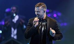 Justin Timberlake at Etihad stadium in Melbourne