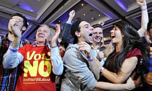 No supporters celebrate as Scottish independence referendum results are announced at a 'Bette