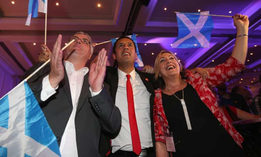 'Better Together' supporters celebrate the result of the Scottish referendum on independence at the campaign headquarters in Glasgow.