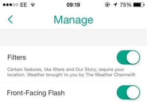 Flash on the front in Snapchat