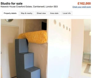 Studio flat for sale from Zoopla website, Camberwell
