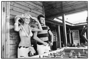 Bardot married Gunter Sachs in 1966, a marriage that lasted three years. Here she is in Saint-Tropez in August 1967 with Johnny Hallyday.