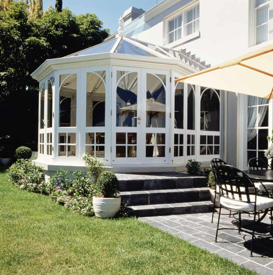 Conservatory outside patio chair umbrella lawn steps