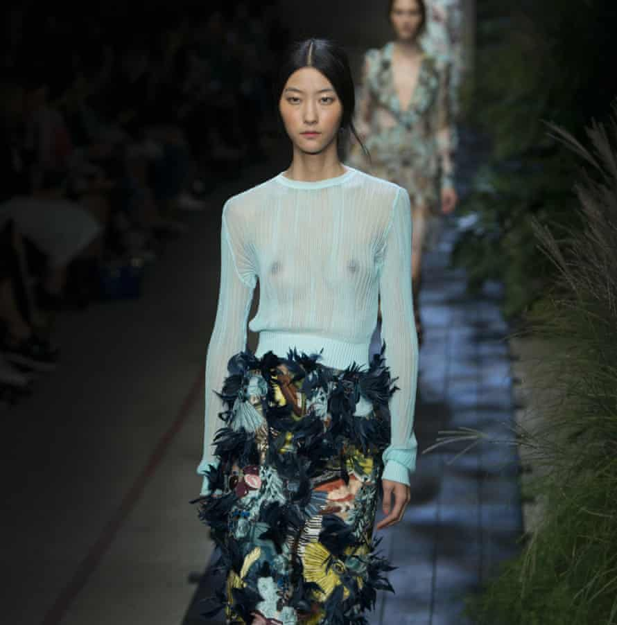 A model showcases a new design by Erdem's Spring/Summer 2015 collection