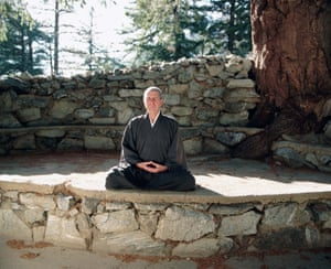 California, 10 November 1995 Meditating at the Mount Baldy Zen centre. Cohen was ordained as a Zen Buddhist monk in 1996. 'I am not a Buddhist, but a pseudo-Buddhist,' he said in 2001.