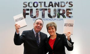 Alex Salmond and Nicola Sturgeon at the launch of the Scottish government's independence white paper.