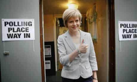 Deputy first Minister Nicola Sturgeon at the Polling station after casting her vote in the Indpendent Referedum.
