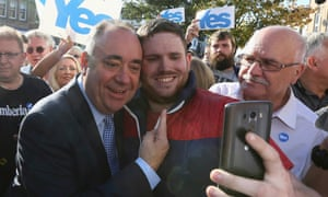 Alex Salmond on the campaign trail in Largs, Ayrshire.