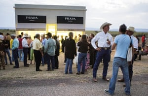 Local rangers at the inauguration of Prada Marfa, 2005. The installation has just earned its new status as a museum with only one exhibit.
