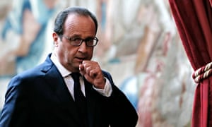 French president Francois Hollande about to deliver his speech about air strikes inside Iraq against