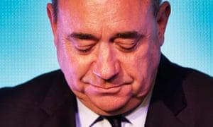 Alex Salmond with eyes cast down