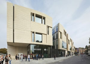'Between domestic and monumental': the stone exterior of the architecture school continues the curve of the street.