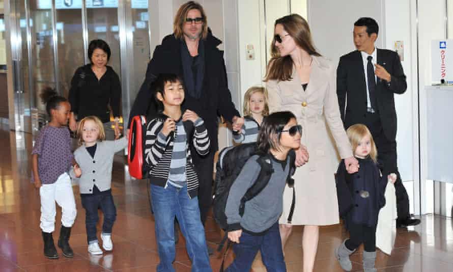 Angelina Jolie S Wedding Dress Designed By Donatella Versace And Her Children Angelina Jolie The Guardian
