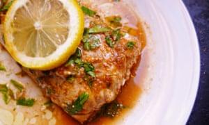 leftover lemon recipe Roasted fish with chermoula sauce