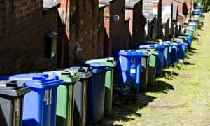 Recycling and general rubbish bins at Summerseat, Bury.