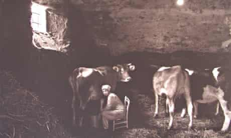 A woman milking a cow in Abruzzo, Italy.
