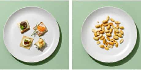 A plate of canapes and a plate of peanuts