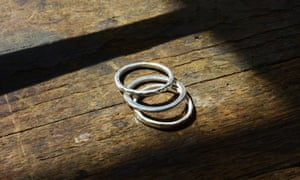 Ruth Lewy's finished hammered silver rings at the ring-making course at The Quarterworkshop in Birmingham.