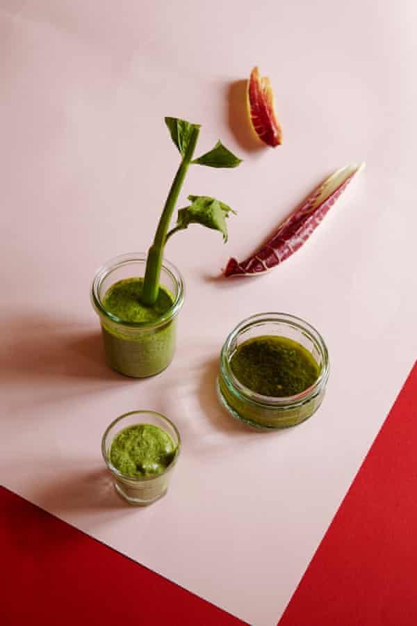 Dips: mojo verde, green tahini and green mayonnaise.