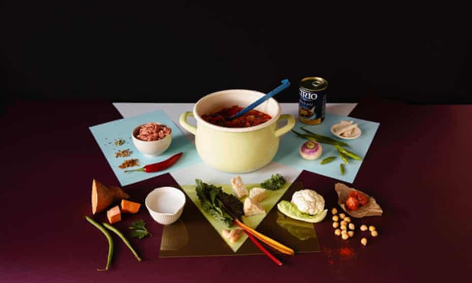 A chorizo and cauli stew among other ingredients