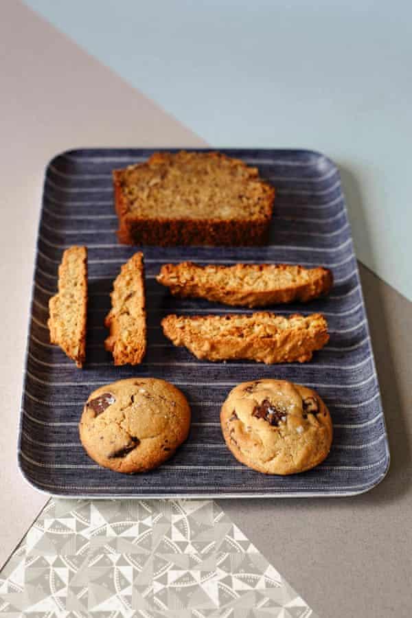 Choc chip cookies, banana bread, biscotti.