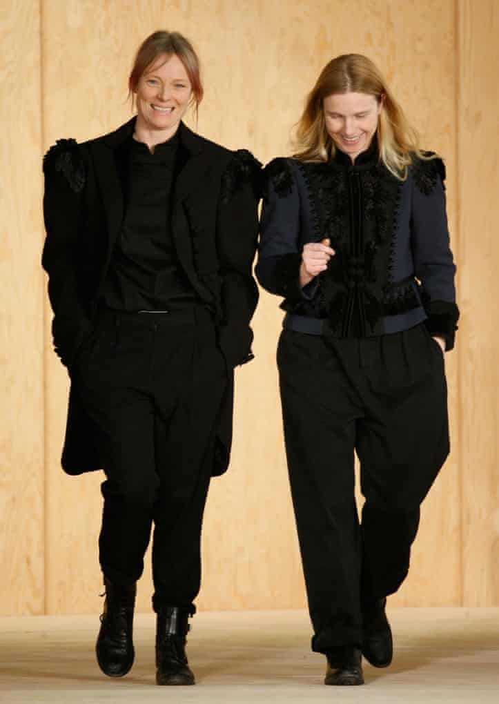 Katie Hillier and Luella Bartley on the catwalk at the end of their first Marc by Marc Jacobs show.