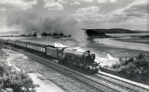 A classic shot of the Flying Scotsman at Grange-over-Sands on the Cumbrian coast line in the 1970s.