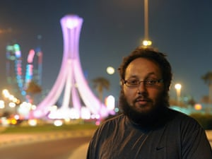 A picture made available 02 September 2014 shows US freelance journalist Steven Sotloff during a work trip in Manama near Lulu Roundabout, which later became the iconic center for the 2011 pro-reform protests in Bahrain, 26 October 2010.