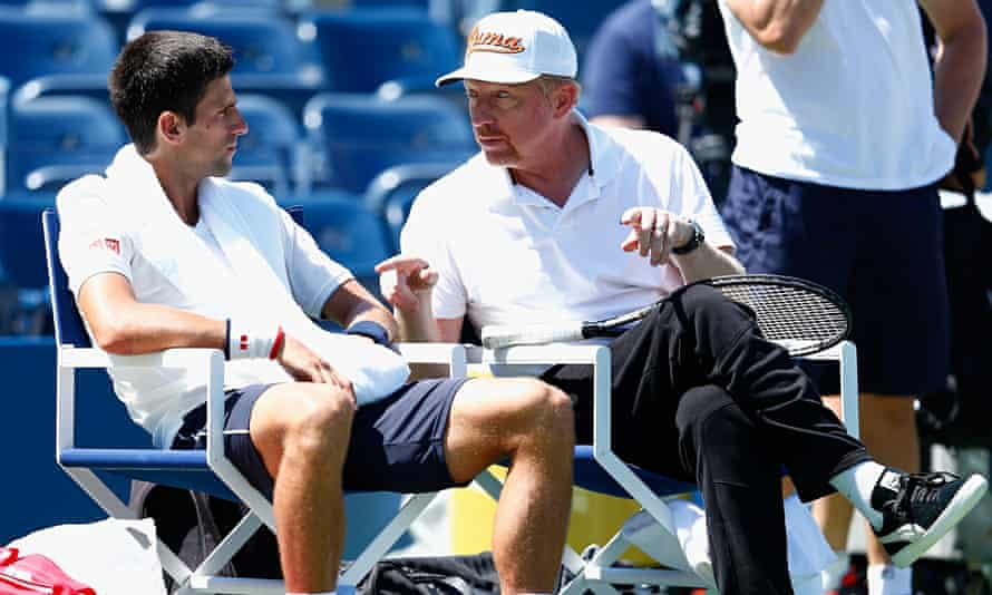 Novak Djokovic talks with his coach, Boris Becker, in New York in the build-up to the US Open