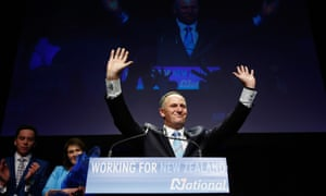 Newly elected Prime Minister John Key celebrates on stage after delivering his victory speech at Viaduct Events Centre on September 20, 2014 in Auckland, New Zealand. (Photo by Phil Walter/Getty Images) Election