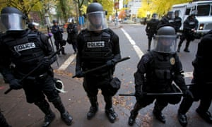 Portland police during the Occupy protest.