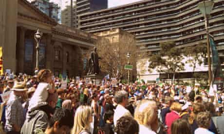 Crowd at people's climate march in Melbourne, Australia