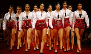 Milan, Italy Models walk in the finale of Dolce & Gabbana's Spring/Summer 2015 collection during Milan Fashion week