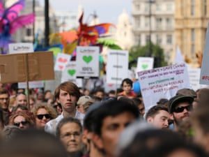 People's climate march in London, where thousands of people took to the streets