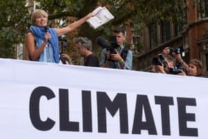 Emma Thompson (left) speaks at the end of The People's Climate March, central London, a march and rally to demand urgent action on climate change  September 21, 2014.