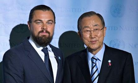 United Nations secretary general Ban Ki-moon with actor Leonardo DiCaprio during his designation cer