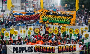 People gather near Columbus Circle before the People's Climate March