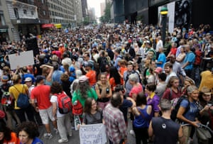 People fill 58th Street between 8th and 9th Avenue  in New York before a climate change protest marchThousands of people from across the nation are expected in New York City to participate in what's billed as the largest march ever on global warming.