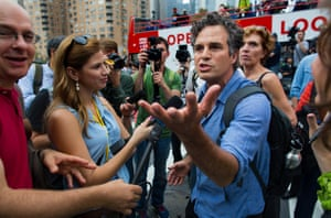 Actor and activist Mark Ruffalo takes questions before the start of the People's Climate March